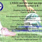 L'ASOC recrute pour son équipe féminine